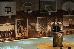 Basketball commentator Dick Vitale delivers his induction speech at the Basketball Hall of Fame in Springfield, Mass.
