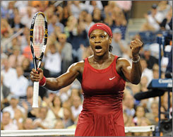 Serena Williams earned her third U.S. Open title and reclaimed the No. 1 ranking after beating Serbia's Jelena Jankovic 6-4, 7-5 in the women's singles final Sunday night.