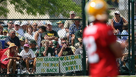 "Aaron Rodgers knows he has doubters as the Packers starting QB, as signs at training camp showed him. Says the QB, ""If I've shown my teammates anything the last two months, it's that I think I can handle this."""