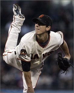 San Francisco's Tim Lincecum threw 8-plus innings and struck out nine, reclaiming the major league lead for strikeouts with 225, and the Giants beat the struggling Arizona Diamondbacks 6-2.