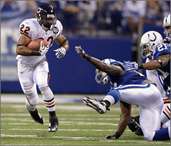 Matt Forte of the Chicago Bears was impressive in his NFL debut. He gained 123 yards on 23 carries.