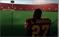 Larry Johnson and the Chiefs will face the Oakland Raiders at Arrowhead Stadium on Sunday.