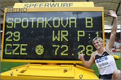 Barbora Spotakova has the results to show for it after setting a world record in the women's javelin.