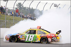 Kyle Busch spins out early on in Sunday's 300-lapper at New Hampshire.