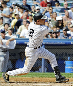 Derek Jeter tied Lou Gehrig's record for all-time hits at Yankee Stadium with this fifth-inning home run in New York's win over Tampa Bay.