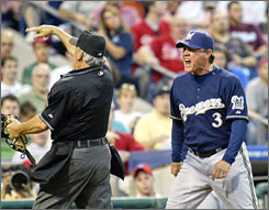 Brewers manager Ned Yost is ejected by home plate umpire Larry Vanover during a game in Philadelphia in May. He compiled a record of 457-502 (.477) during his six seasons in Milwaukee.