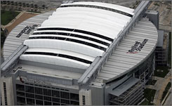 The damage to Reliant Stadium is being evaluated. The status of the Texans' next scheduled home game on Oct. 5 is uncertain.