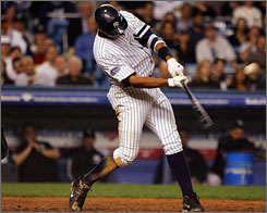 With his eighth inning home run, the New York Yankees' Alex Rodriguez became the first player with 35 homers and 100 RBI in 12 seasons.The Yankees defeated the Chicago White Sox 5-1.