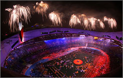 Fireworks explode over the Bird's Nest stadium in Beijing on Wednesday marking both the close of the Paralympic Games and the Olympic period in China.