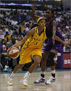 Los Angeles Sparks rookie forward Candace Parker, left, will try to add a WNBA championship to the NCAA Championship and Olympic gold medal she won earlier this year. Parker and the Sparks host the Seattle Storm in game 1 of the Western Conference semifinals on Friday.