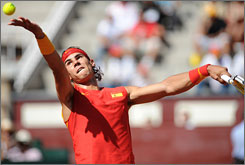 Rafael Nadal beat Sam Querrey in the first match on Friday to give Spain an early lead in the Davis Cup semifinal.