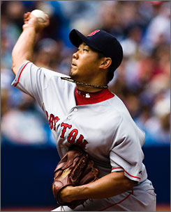 Daisuke Matsuzaka was in complete control Sunday, tossing seven shutout innings in the Red Sox's 3-0 shutout of Toronto.