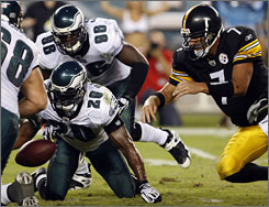 The Eagles sacked Ben Roethlisberger eight times before he left the game in the fourth quarter with a right hand injury.