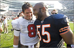 """Brian Griese, left, said of defeating his former team, the Chicago Bears, """"""""I can't lie to you guys. The game meant a lot to me, personally."""""""