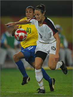 Kate Markgraf, right, scored on a penalty kick in an exhibition vs. Ireland.