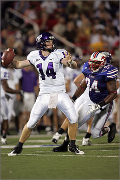 Quarterback Andy Dalton has no touchdown passes, but he is one of four TCU players with at least 162 rushing yards, helping the Horned Frogs to a 4-0 start.