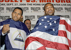 Shane Mosley, right, and Ricardo Mayorga fight in the main event Saturday night, with the winner possibly getting a title shot.