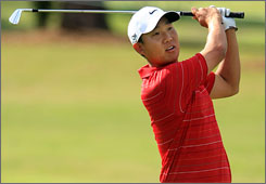 Anthony Kim carded a 6-under 64 on Thursday at the Tour Championship to build a four-shot lead over three players.