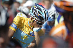 Alberto Contador takes a break before the 19th stage of the Spanish Vuelta on Sept. 19.