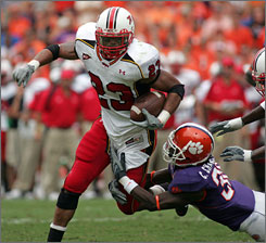 Maryland running back Da'Rel Scott scored the game-winning touchdown for the Terrapins in their upset of Clemson.