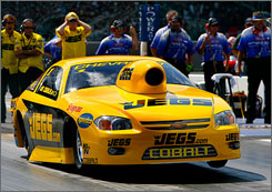 Defending Pro Stock champion Jeg Coughlin, above, enters next week's event near Richmond, Va., leading Kurt Johnson by 32 points, with five others within 100 after three of the six events.