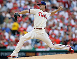 Lanky left-hander Cole Hamels was masterful in the Division Series opener on Wednesday, holding the Brewers to two hits in eight innings as Philadelphia won 3-1.