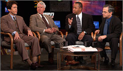 From left, Mitch Albom, Bob Ryan, John Saunders and Mike Lupica appear on ESPN's The Sports Reporters, which features sportswriters.