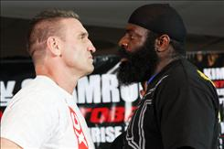 Mixed Martial Arts fighters Ken Shamrock, left, and Kimbo Slice face off Saturday night in the EliteXC main event.