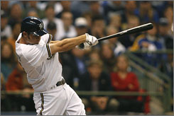 Milwaukee Brewers shortstop J.J. Hardy hits an RBI single in the first inning against the Philadelphia Phillies during game three of the National League Division Series at Miller Park. Hardy went 3-for-4, and the Brewers beat the Philadelphia Phillies 4-1 to stave of elimination.