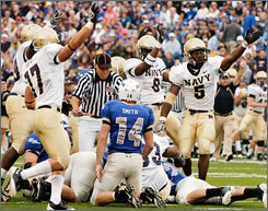 Navy won its third straight and took the edge in the race for the Commander-in-Chief's Trophy by beating Air Force in Colorado Springs.