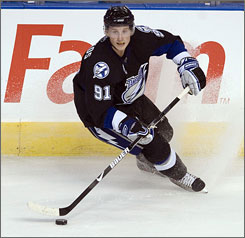 The Lightning's Steve Stamkos, the 2008 NHL draft's No. 1 overall pick, will start the season on the team's roster.
