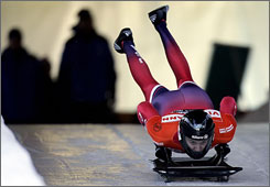 Zach Lund of the U.S. competes in the men's skeleton world cup tour at the Olympic track in Cesana Pariol, Italy, Jan.17, 2008. Lund was banned from the Torino Olympics after testing positive for finasteride, which was prohibited at the time.