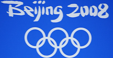 An Olympic logo adorned the side of a building in Beijing this past summer.