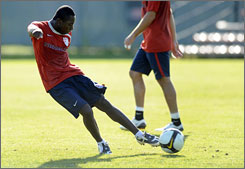 Freddy Adu was joshing with U.S. teammates when he wasn't working on ball control during a Tuesday workout.