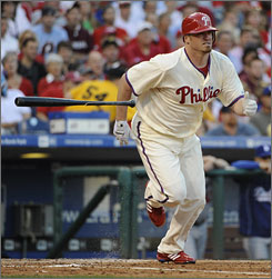 While Philadelphia Phillies starting pitcher Brett Myers allowed five runs in five innings, he helped his team with his bat. Myers went 3-for-3 with three RBI and two runs scored, giving the Phillies the lead with his first single in the second inning.