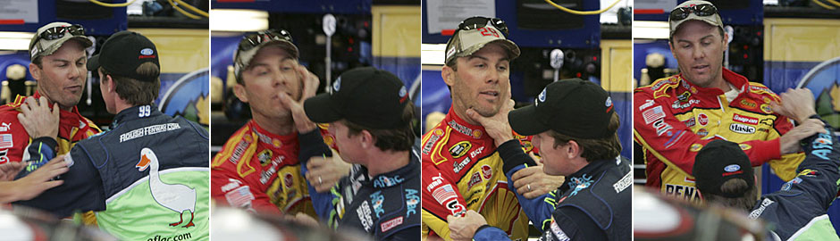 Frame-by-frame images of the scuffle between Kevin Harvick, left, and Carl Edwards on Thursday near Charlotte.