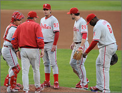 Philadelphia Phillies pitcher Jamie Moyer, 45, was roughed up in his first start in the National League Championship Series. The veteran gave up five runs in the first inning and was out of the game before the second inning was complete.