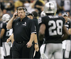 """Tom Cable took over a Raiders team that is 15-49 over the past five seasons. """"Unfortunately, that's the way it's been around here,"""" said Ronald Curry, a seven-year veteran. """"You kind of get immune to it."""""""