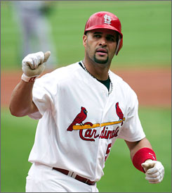 Despite an elbow injury that nagged him all season,    Albert Pujols still put up MVP-caliber numbers this season for the St. Louis Cardinals  a .357 average, 37 homers and 116 RBI.
