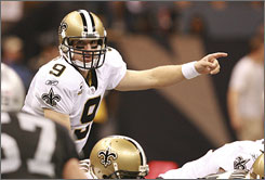 Saints QB Drew Brees, after six games, is on pace to break Dan Marino's record for most passing yards in a season.