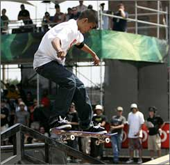 Chaz Ortiz skates at the AST Dew Tour Panasonic Open this summer in Baltimore.
