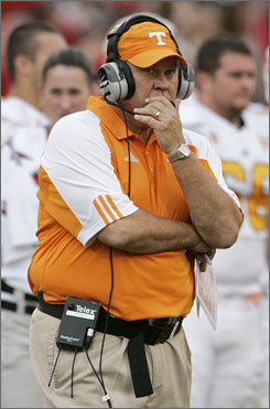 Tennessee coach Phillip Fulmer is having a troubled season in Knoxville, leading his Vols to an 0-3 start in Southeastern Conference play.