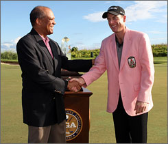 Jim Furyk added a pink jacket to his wardrobe after his victory at the PGA Grand Slam.