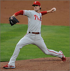 Series MVP Cole Hamels delivers in the first inning of the Phillies' pennant-clinching Game 5 victory. He allowed one run on five hits in seven innings for his second win in the NLCS and third of the postseason.