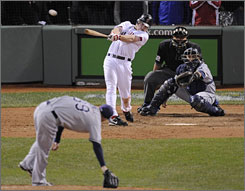 Red Sox rightfielder J.D. Drew hits a game-winning single in the bottom of the ninth inning, driving in Kevin Youkilis from second base and handing Boston a wild 8-7 win. The Red Sox rallied from a 7-0 deficit with eight runs in the final three innings.