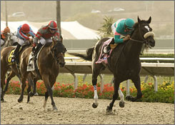Zenyatta, with Mike Smith aboard, pulls away from the field for a win in the Clement L. Hirsch Handicap in August in Del Mar, Calif. The horse will run in the Ladies' Classic at the Breeders' Cup.