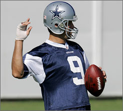 "Tony Romo's status for Sunday's game vs. the Rams is still up in the air. ""It will be up to him. If he is feeling good and the pain is good, then it's likely he'll play,"" team ower Jerry Jones said."