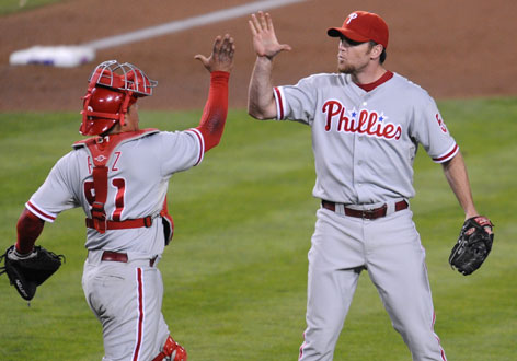 Phillies closer Brade Lidge, right, with catcher Carlos Ruiz, closed out all 41 save chances during the regular season and is 5-for-5 in the postseason. Lidge spent his first five seasons with the Houston Astros before being traded to Philadelphia during last off season.
