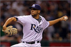 Tampa Bay rookie pitcher David Price, called up from the minors for the Rays' stretch drive, picked up his first save at any level Sunday night in Game 7 of the ALCS.
