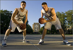 Kyle McAlarney, left, and Luke Harangody lead a veteran bunch that head coach Mike Brey hopes can carry the Irish to new heights in the NCAA tournament.